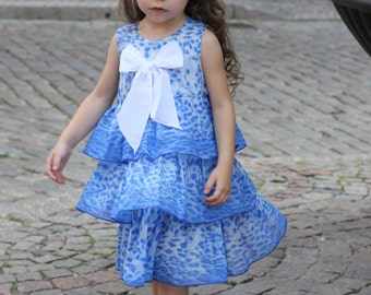 Girls dress/designer fabric cotton ruffle blue white leopard girs baby dress special occasion birthday everyday