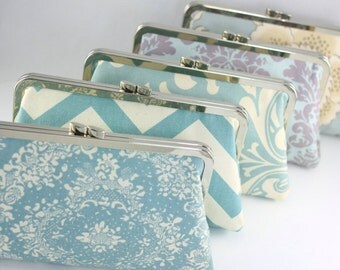 Dusty Blue Bridesmaid Clutches / Retro Blue Wedding Clutches / Customized Bridesmaid Clutches - Set of 5