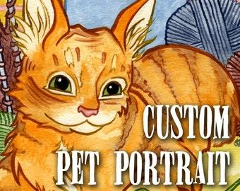CUSTOM Pet Portrait, 8x10 or 9x12 Watercolor Original