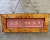 1884 Monogrammed Needlepoint Wall Hanging