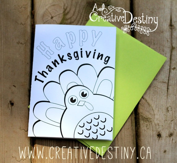 Happy Thanksgiving - Colour Me Greeting Card for kids