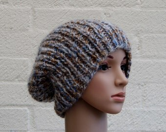 Extra large Knitted Slouchy Beanie hat, Oversized knitted Beanie hat, Chunky knit slouchy hat, winter hat