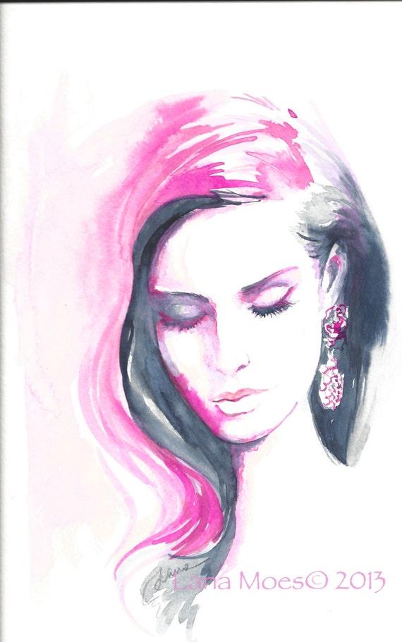 original watercolor painting artwork woman fashion