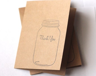 Mason Jar Thank you Cards | Rustic Stamped Cards | Set of 10 Cards with Envelopes