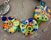 Firecracker Explosion of Color Lampwork Glass Beads Sterling Silver Clasp Bracelet