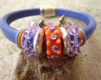 Poppies and Violets Lampwork Glass Focal Bead Leather Regaliz Bracelet