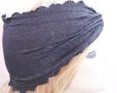 Black Stretchy Lace headband ,Turban Headband Twist Stretchy Hair Bands, - Boho Headband Lace Turban Head Scarf