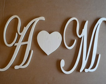16 inch script cursive wooden monogram letter wedding wall decor family room wood monogram