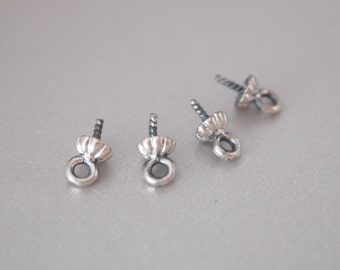 10 PCS, Cup, Anitque Sterling Silver, With 4.5mm scalloped cup and 4mm Peg, for Half-drilled Gemstones or Pearls, DIY Jewelry Supplies