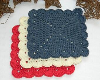 Kitchen Dish Cloths, Bathroom Accessories, Personal Care Accessory, Crochet Patriotic Dish Cloths
