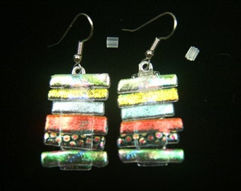 Dangle Earrings, Dichroic Glass, Pastel Colors, Surgical Steel Hooks er47