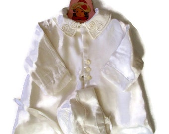 Vintage Baby Jacket- Christening Baptism- Heirloom- White Embroidered Satin with Matching Bonnet-Handmade-Silk Kimono-Hat-Baby Clothes