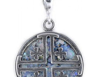 Special 925 Sterling Silver Pendant, Ancient Roman Glass Pendant, Jerusalem Cross, Roman Glass Jewelry, OOAK