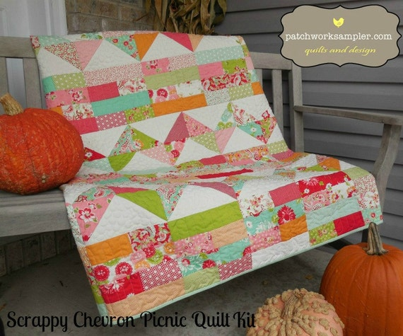 Scrappy Chevron Picnic Quilt Kit