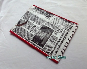 """IPad cover """" Collection Newspaper """" imitation leather, imitation newspaper, black and white"""