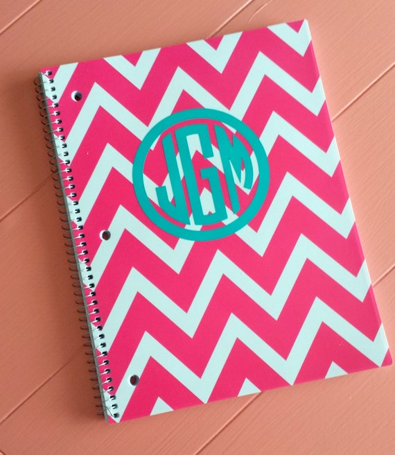 Monogram And Chevron Spiral Notebook Pink