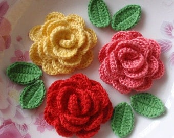 3 Crochet Roses With Leaves YH - 138-11
