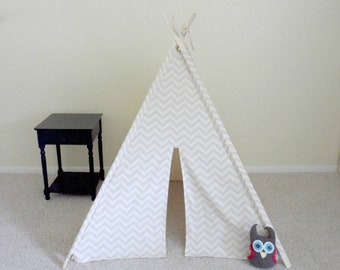 Teepee Khaki and Natural Chevron Play Tent , Tipi Natural Color Room Decor