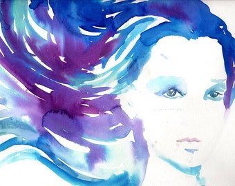 Swept Away by Jessica Buhman, Print of Original Watercolor Painting, 8 x 10 Fashion Illustration Vogue Painting Purple Blue