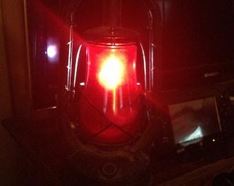 1936 Dietz Monarch Ruby Red Railroad Lantern Black Finish Metal Oil Lantern Vintage New York NY USA