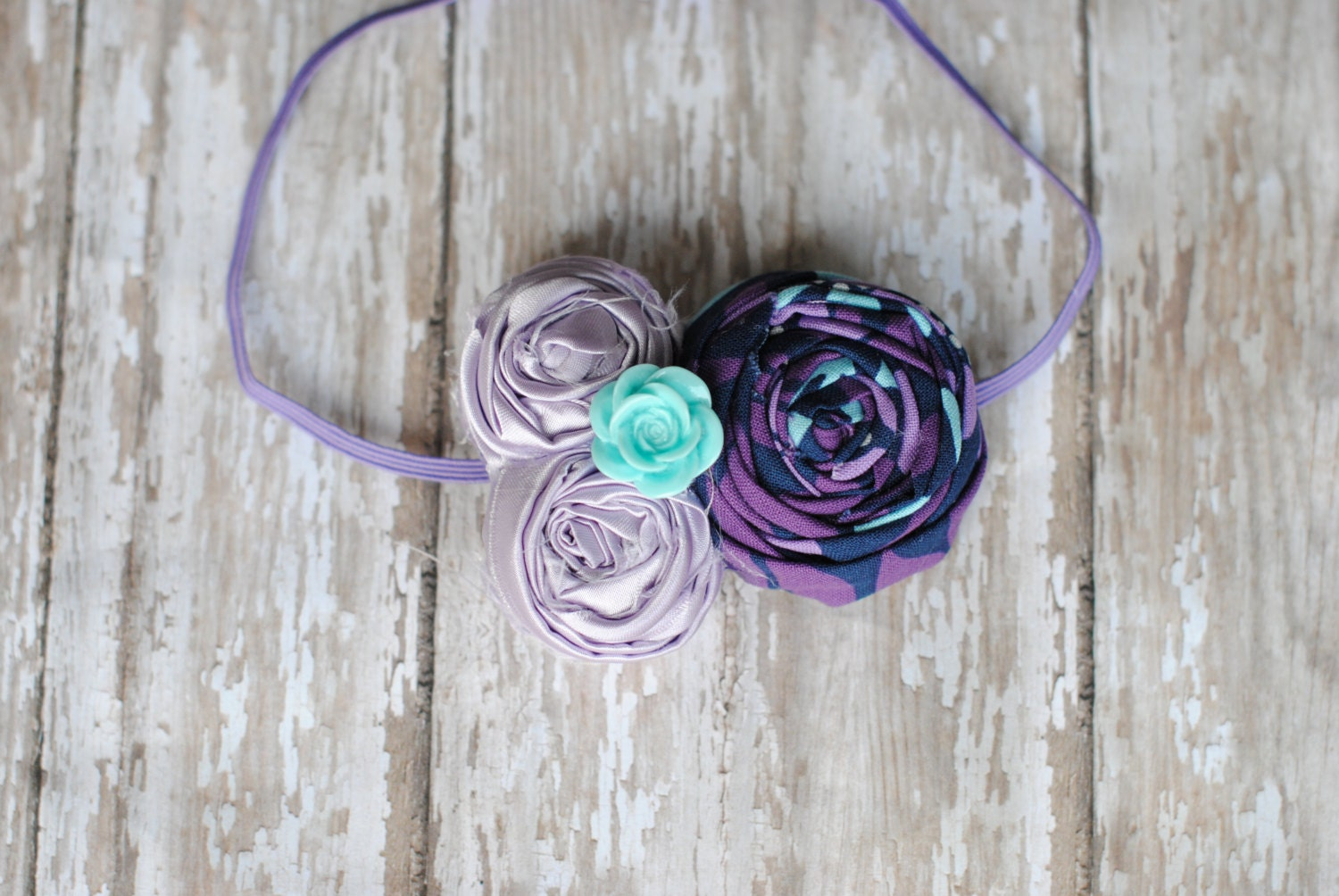 Purple aqua fabric flower headband photography prop baby for Purple baby fabric