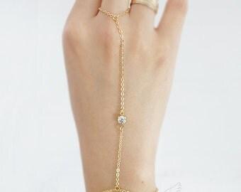 Minimal Simple Chic Tiny CZ Cubic Zirconia Gyspy Bridal Gladiators Bracelet Hand Bracelet Finger Bracelet Slave Bracelet