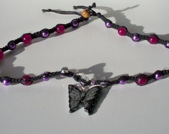 Hematite & Jade Butterfly Necklace