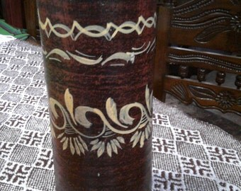 """Large Mexican Pottery Vase - Hand Painted - Brown/Copper - 12 1/2"""" x 5"""""""