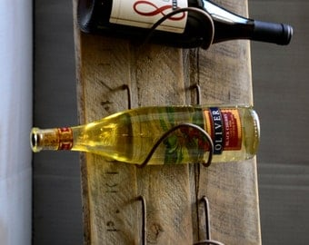Rough plank tabletop wine rack