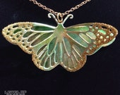 Upcycled/Recycled Butterfly Necklace - Green and Gold