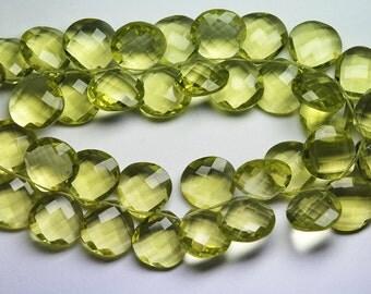 5 Matched Pair, LEMON GREEN Quartz Faceted Heart Shape Briolette, Size 14mm