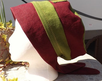 New Wine 100% Linen Two Toned Pull On Snood Head Covering with Trim