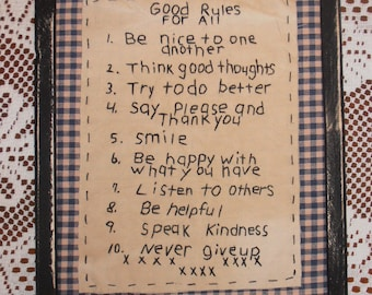 Primitive Stitchery, Good Rules For All,Country Home Decor, Cabin Decor,Rustic, Handmade
