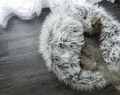Faux Fur Pouf- Pet Bed-Frosty Gray