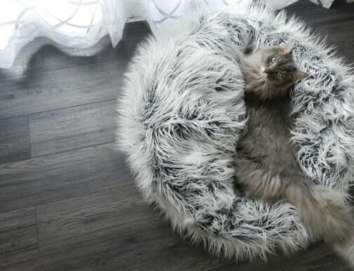 Faux Fur Pouf Pet Bed Frosty Gray