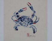 Blue Crab Gyotaku 12x12 Giclee Print, Limited Edition