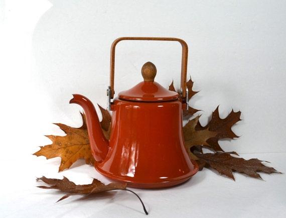 Burnt Orange Enamel Tea Kettle Rust Copper Color By