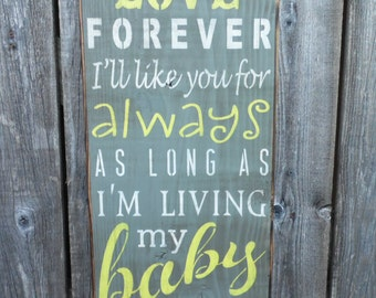 wooden sign, I'll love you forever, subway art, wall hanging, wall decor