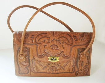 Lovely Deep Caramel-colored Leather Hand-tooled Leather Purse - Made in Mexico For 'Bags #1' - Two Handles - Brass Clasp - Four Pockets