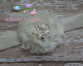 Newborn Headband..Baby Girl Headband..Baptism Headband..Wedding Headband..Toddler Headband..Infant Headband