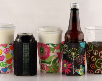 Beverage Insulator Retro Floral Fabric PocketHuggie- Reusable, Cold & Hot Drinks, Choose from 2 SIZES, CUP  and CAN Size,Solo Cup,#Starbucks