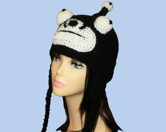 Crochet  Black Alien Earflap Hat.(Any Sizes: Newborn to Adult). Please send size.
