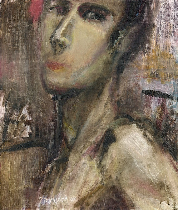 Original Oil Painting - freely done Abstract Men portrait - Contemporary portrait painting - Male Nude - oil on canvas 20x16 (50x40 cm)