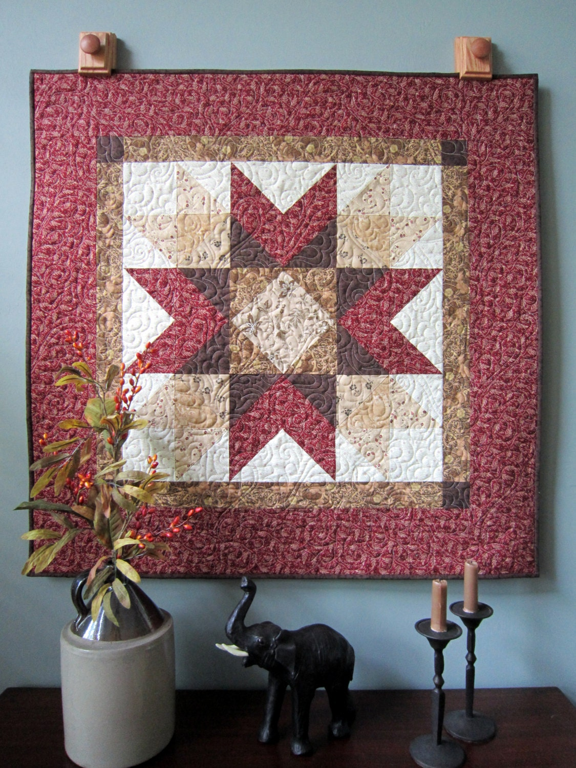 Primitive Quilted Wall Hanging Or Table Topper Addison S