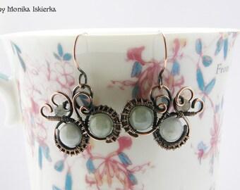 Alline- wire wrapped earrings, aquamarine, handmade, copper, wirework