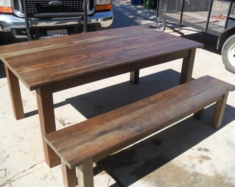 Reclaimed wood table and bench USA custom made from reclaimed wood