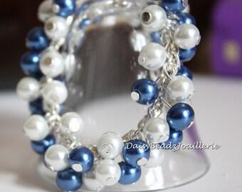 Flower Girl Pearl Cluster Bracelet, Flower Girl Bracelet, Chunky Bracelet, Bridesmaid Bracelet, Bridesmaid Gift, Wedding, Jewelry, Bracelet