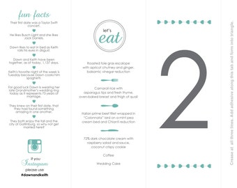 Add-On: 10 Additional Table Numbers/Wedding Menu, Fun Facts, Instagram, Customized Trifold Digital Printable