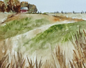 watercolor landscape painting landscape watercolor red barn painting barn landscape art print landscape print farm ATC traditional SMALL