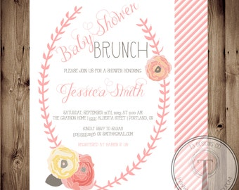 Baby Shower Invitation, BABY GIRL, Floral, Shabby Chic, Baby Shower,invite, Invitation, baby shower brunch, brunch, modern vintage